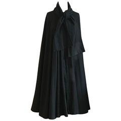 Geoffrey Beene 1970s Black Long Cloak Cape with Tie Neck Scarf Collar Detail