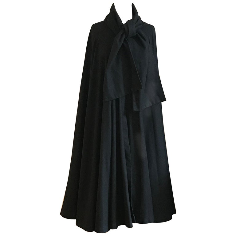 Geoffrey Beene 1970s Black Long Cloak Cape with Tie Neck Scarf Collar Detail For Sale