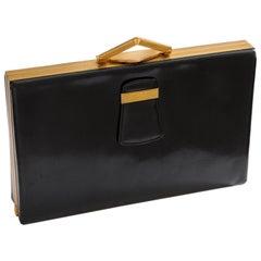 Rare Evans Elegance Black Leather Clutch Bag with Art Deco Details Vintage 50s