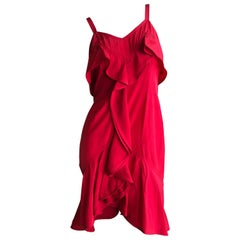 Yves Saint Laurent Tom Ford Fall 2003 Look 1 Red Ruffle Dress