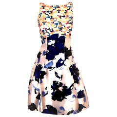 Oscar de la Renta Head Turning White & Blue Floral Mix Media Cocktail Dress
