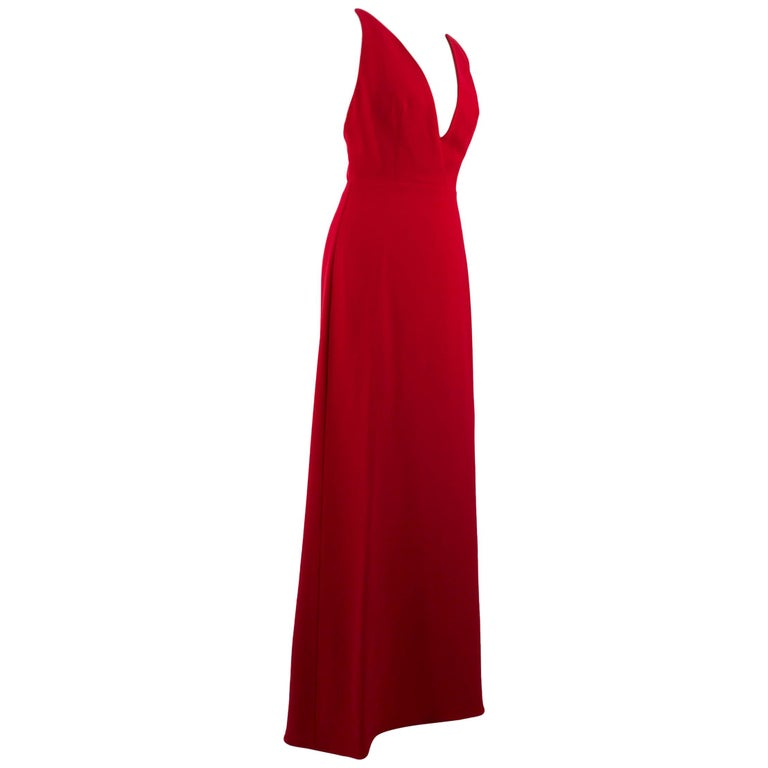 Valentino Red Silk V-Neck Gown US size 4 For Sale