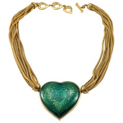 1980's Yves Saint Laurent Green Heart Pendant Necklace
