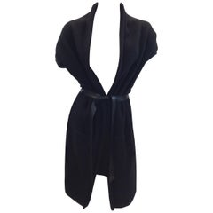 Zoe Couture Black Wool and Cashmere Cardigan With Leather Belt