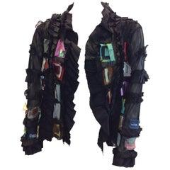 Lee Andersen Black Mesh Patch Silk Jacket