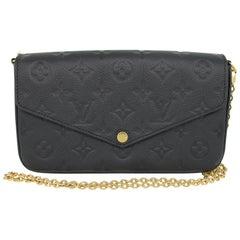 Louis Vuitton Felicie Empreinte Noir Black Pochette Chain Wallet No Inserts