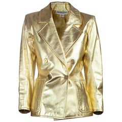 Yves Saint Laurent gold leather jacket. Circa 1970s