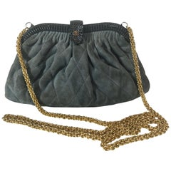 Chanel Vintage Python Suede Quilted Evening Clutch