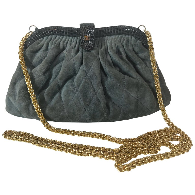 49d3fe12ff3 Chanel Vintage Python Suede Quilted Evening Clutch For Sale at 1stdibs