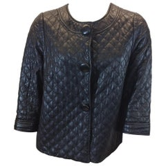Vince Black Leather Quilted Jacket