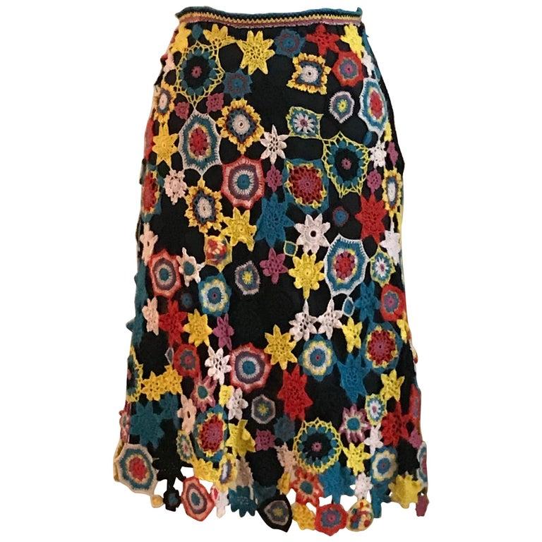 Christian Lacroix Vintage Crochet Floral Patchwork Black and Multicolor Skirt