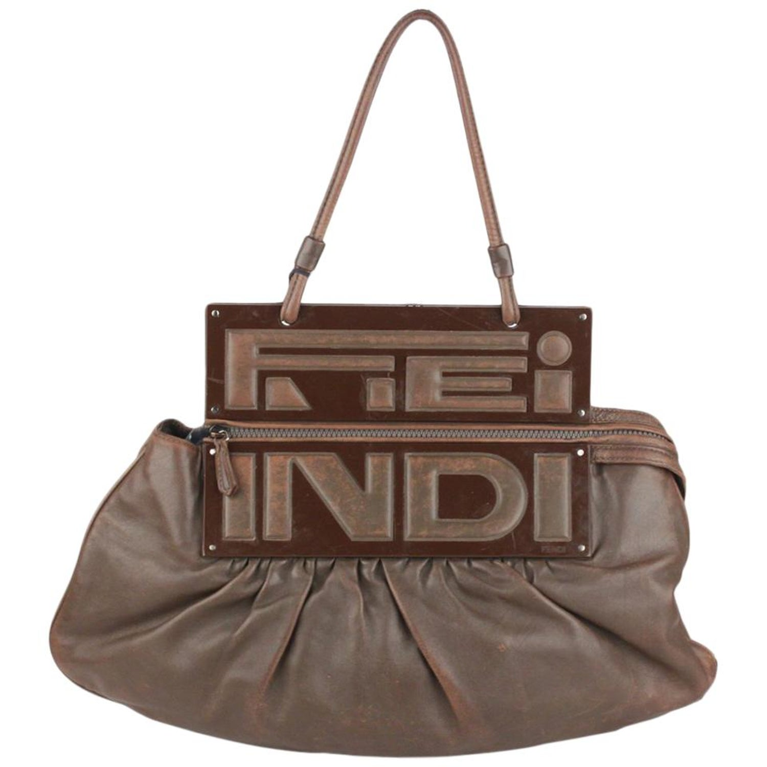 7924d62fa1 Fendi Brown Leather Convertible To You Clutch Bag Tote For Sale at 1stdibs