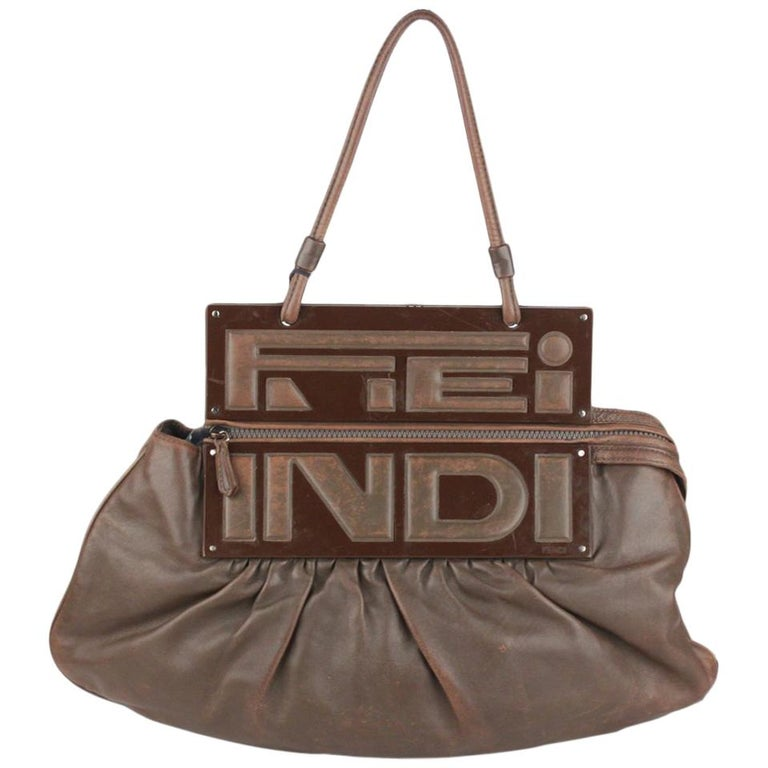 Fendi Brown Leather Convertible To You Clutch Bag Tote For Sale