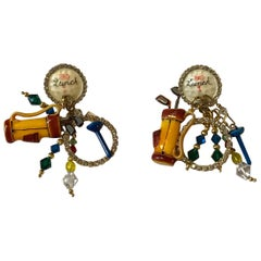 Lunch at the Ritz Golf Gold and Enamel Charm Earrings with Rhinestones 1990s