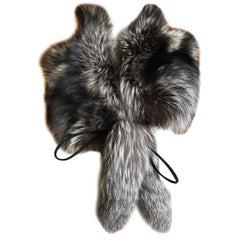 Gucci Silver Fox Fur Wrap with Fox Tail Pom Poms