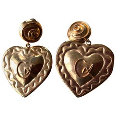 Christian Lacroix 1980's Gold Heart  Chandelier Clip Earrings