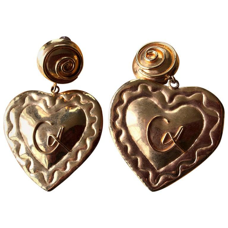Christian Lacroix 1980's Gold Heart  Chandelier Clip Earrings