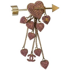 Chanel Rose Gold Tone Cupid Arrow Pin with Hearts