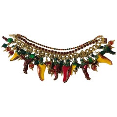 Lunch at the Ritz 1990s Goldtone Peppers Bracelet Green Red Yellow Rhinestone