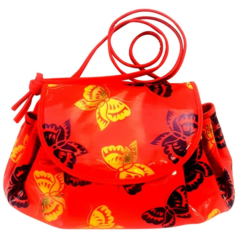 Bottega Veneta Vinyl Coated Butterfly Draw String Red Cross Body Bag