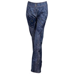 Blue Christian Dior Printed Stretch-Cotton Jeans