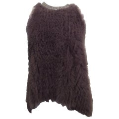 Brunello Cucinelli Taupe Cashmere/Goat Fur Knit Top, Silver Monili Bead Neckline
