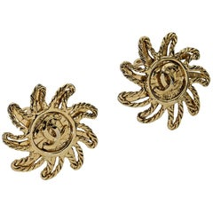 Goldtone Vintage Chanel Starburst Earrings