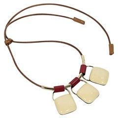 Cream Marni Enamel Pendant Necklace