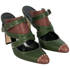 Green & Brown Manolo Blahnik Strappy Leather Mules