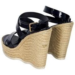 Navy Blue Yves Saint Laurent Wedge Espadrille Sandals