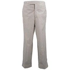 Black Fleece Beige and Gray Stripe Cotton Cuffed Pants