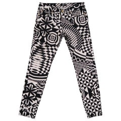 Versus by Gianni Versace Black and White Geometric Print Cotton Pants