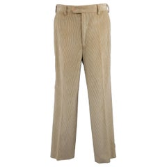 Luciano Barbera Solid Khaki Corduroy Dress Pants