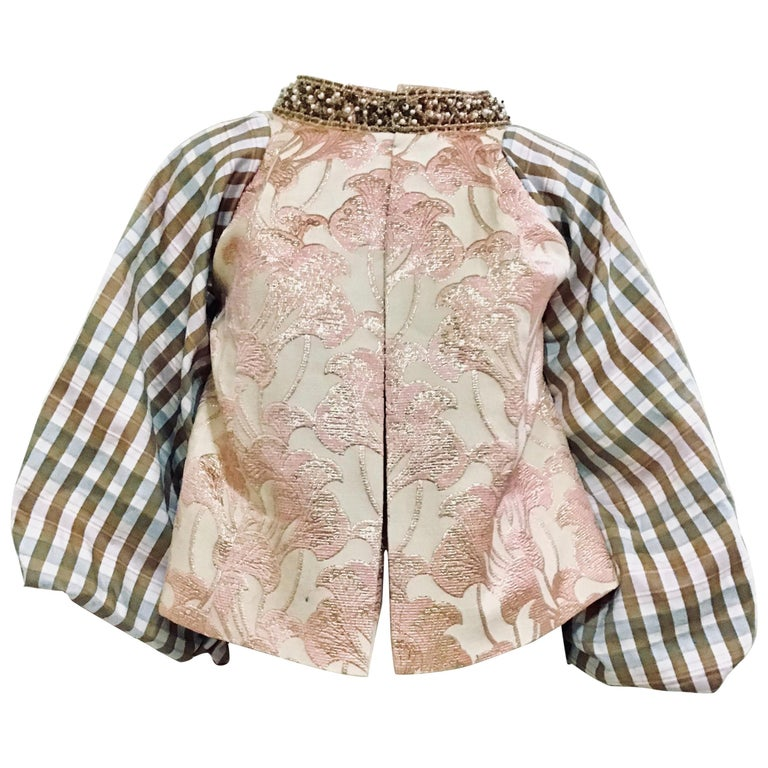 Beaded Gold and Pink Brocade Jacket