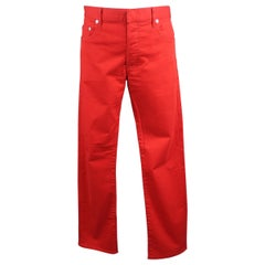 Dior Homme Red Solid Cotton Blend Jeans