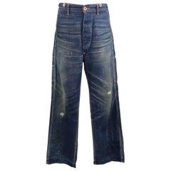 RRL by Ralph Lauren Distressed Medium Wash Selvage Denim Jeans