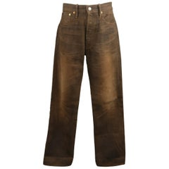 RRL by Ralph Lauren Brown Washed Distressed Selvage Denim Jeans