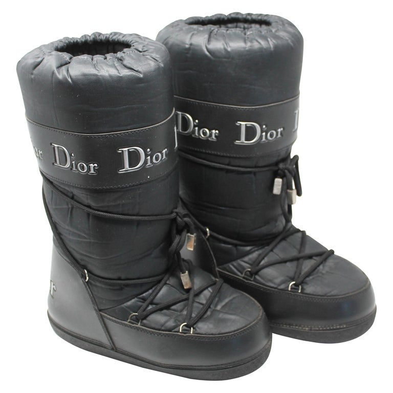 Dior Black Nylon Apres Ski Boots  For Sale