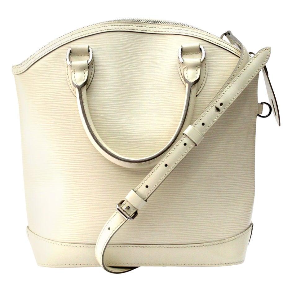 2007s Louis Vuitton White Epi Leather Lockit PM Bag