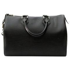 2009s Louis Vuitton Black Epi Leather Speedy 25 Bag