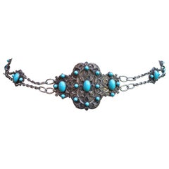 Piel Freres Art Nouveau Silver Plated and Turquoise Glass Chain Buckle Belt
