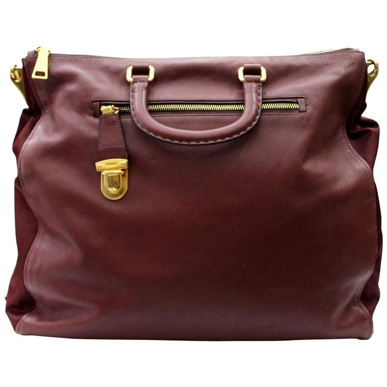 Prada Bordeaux Leather Shoulder Bag