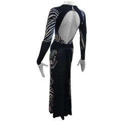 "Roberto Cavalli ""Zebra"" Gown with plunging key hole back"