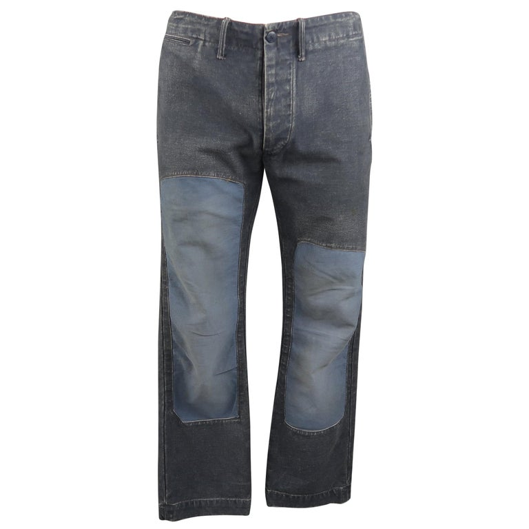 RRL by Ralph Lauren Indigo Blue Washed Cotton Knee Patch Casual Pants at  1stdibs d3ad279d90c68