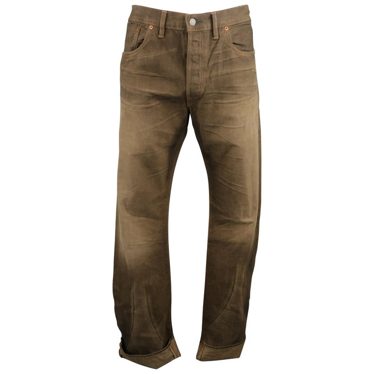 RRL By Ralph Lauren Washed Olive Brown Distressed Selvage Denim Jeans