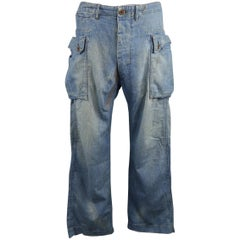 RRL By Ralph Lauren Blue Distressed Stitching Denim Cargo Pants
