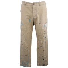 Ralph Lauren Khaki Paint Splattered Cotton Casual Chino Pants