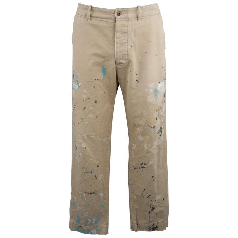 Ralph Lauren Khaki Paint Splattered Cotton Casual Chino Pants