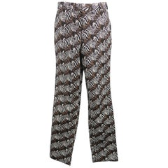 Gitman Vintage Brown Zebras Graphic Print Cotton Casual Pants