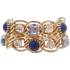 60'S Gold Blue Sapphire Crystal & Lapis Cabochon Bracelet By, Schiaparelli
